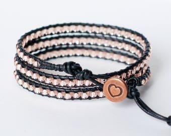 Blush Pink Bracelet, Leather Wrap Bracelet, Triple Wrap, Beaded Wrap Bracelet, Pink Beaded Bracelet
