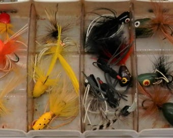 Box of Vintage Bass/Fly Popper Fishing Lures
