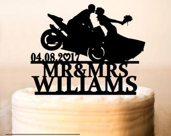 Motorcycle Couple Wedding Cake Topper,Motorcycle Cake Topper, Motorbike Cake Topper, wedding cake topper with date,Funny Cake Topper (0233)