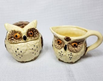 Owl Sugar Bowl and Cream Pitcher, Enesco Made in Japan, Vintage 1970's, Late Mid Century, Owl Kitchen, Retro Owl Collectible, FREE Shipping