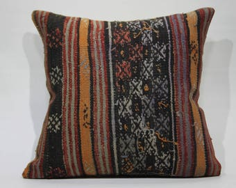 20x20 Floor Cushion Large Pillow Cover Turkish Kilim Pillow 20x20 Kilim Pillow,Decorative Pillow,Vintage Kilim Pillow,Throw Pillows 1224