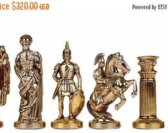 For Sale Romans Large Chess Set - Gold-Silver - Blue Board