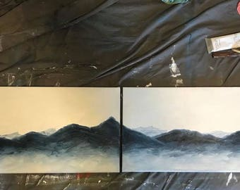Original Abstract Oil Painting Blue Mountains on (2) 12x24 Stretched Canvases