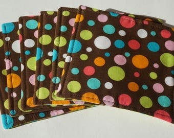 Polka Dot Fabric Coasters, Set of 6, Polka Dots and Stripes, Reversible Coasters, Everyday Coasters, Colorful Coasters, Drink Mats, Geometic