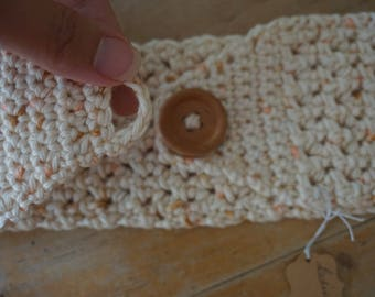 Cream headband ear warmer with wooden button, cream ear warmer, cream headband, tan ear warmer