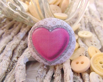 heart 28mm x 1 fabric button pink BOUT2