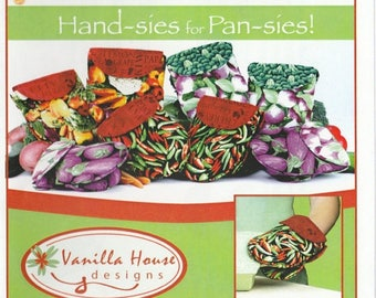 SALE! Hand-sies for Pan-sies  - Pattern - Oven Mitts- Vanilla House Designs