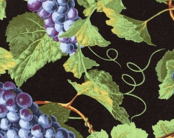 SALE! Grapes and Vines on Black - Wine Country - EESCO