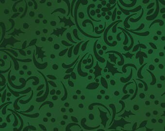 Home for the Holidays - Per Yd - Clothworks by Sue Zipkin - Green Tonal