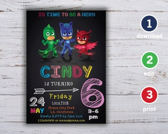 Pj Masks Invitation Instant Download, Pj Masks Girls, Pj Masks Editable PDF, Instant Download, Editable PDF Template, Editable Invitation