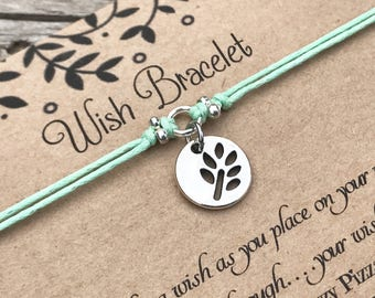 Leaf Wish Bracelet, Make a Wish Bracelet, Leaf Cutout Bracelet, Wish Bracelet, Friendship Bracelet, Nature Bracelet, Gift for Her