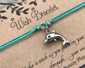 Dolphin Wish Bracelet, Make a Wish Bracelet, Wish Bracelet, Friendship Bracelet, Dolphin Bracelet, Beach Bracelet, Dolphin Gift