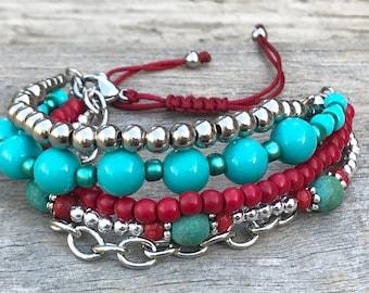 Stacker Bracelet, Boho Bracelet, Bracelet Set, Layering Bracelet, Mix and Match Bracelet, Beaded Bracelet, Gift For Her, Stocking Filler