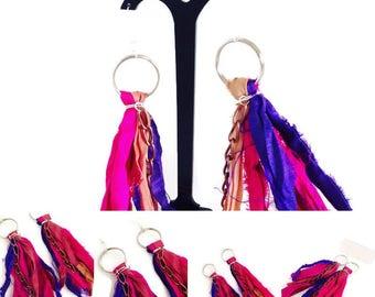 Sari silk earrings, recycled Indian sari silk and chain tassel dangle earrings for pierced ears, boho festival style perfect for summer