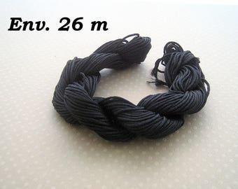DESTASH! 1 ball 1 mm - B640 black nylon thread