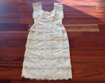 1960's TIERED LACE EVENING Gown