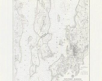1887 Nautical Map of Newport Harbor Narragansett Bay Rhode Island