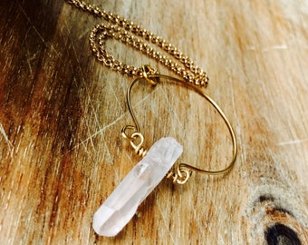 Goddess Halo Raw Quartz Gold Pendant Necklace