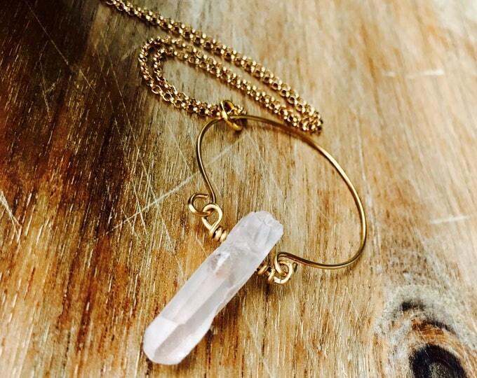 Goddess Halo Raw Quartz Gold Pendant Necklace