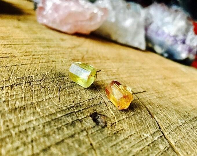 CLEARANCE SALE Raw Yellow Quartz Terminated Stone Crystal Studs | November Birthstone | Very Rare Vintage Arizona Quartz