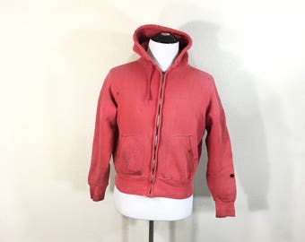 50's vintage distressed zip up hoodie faded red color