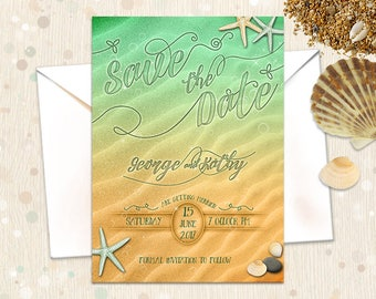 Save the Date Nautical Beach Wedding Invitation. Ocean Water Thank You Cards Printable Set. Marine Seashore Sand Green Yellow Starfish Shell