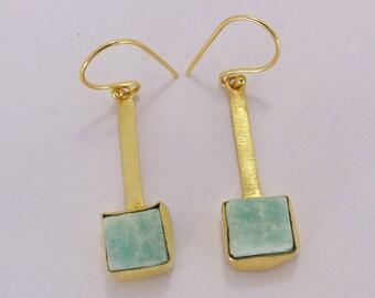 Natural Stone Earrings - Amazonite Earrings - Rough Stone Earrings - Drop Hook Earrings - Gold Plated Earrings - Bezel Set Earrings