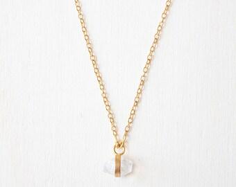 Herkimer diamond necklace, herkimer crystal necklace, Herkimer gold necklace bridesmaid necklace clear raw quartz necklace, diamond necklace