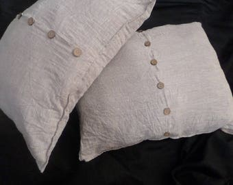 Square EURO PILLOW COVER with buttons in the middle and edging around Natural color Linen Bedding Euro size 26x26,16x16,18x18,20x20,24x2