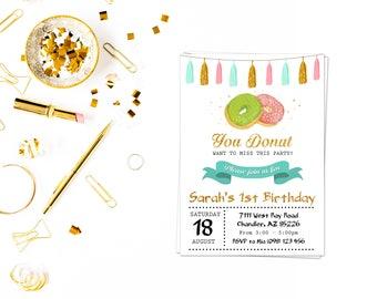 Glitter Doughnut Invite_3,Donut Invitation, Donut Birthday Party, Donut Birthday Invite, Printable Donuts Invitation, Girl Birthday
