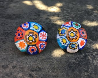 Vintage Venetian millefiori post button earrings, colorful and beautifully hand made