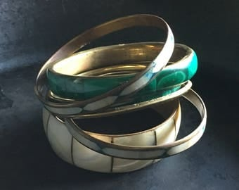 Stack of bangles, malachite, mother of pearl, brass