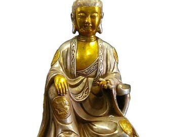 Sales Silver Coating Golden Gilt Chinese Kwan Yin Statue vs931E
