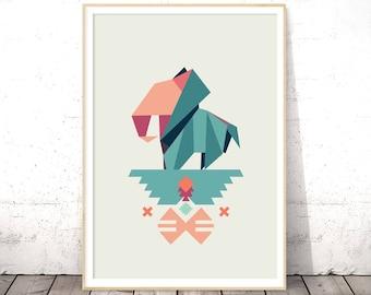 Elephant Print, Safari Nursery, Origami Wall Art, Baby Shower Gift, Kids Room Decor, Playroom Wall Art, Digital Download, Jungle Animal