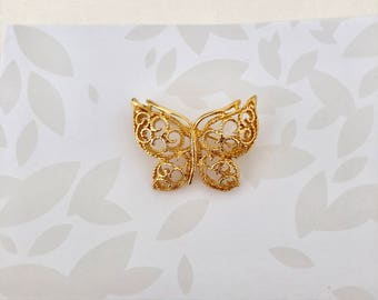 Butterfly Brooch - Butterfly Pin - Gold Butterfly - Gold Butterfly Brooch - Butterflies - Pins and Brooches - Flower Girl Gift - Nature