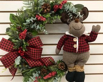 Winter wreath, winter grapevine wreath, moose wreath, Christmas wreath, Moose winter wreath