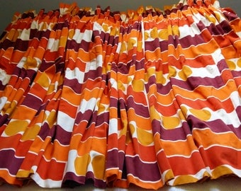 70s Curtains Fabric Drapes MCM Vintage Mid-Century Modern Geometric Goblet Pleats Brown Orange White Cantelope Lined