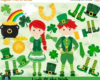 75% OFF SALE Saint Patrick's Day Clipart, Shamrock Clipart, St Patty's Day, St Paddy's Day, Commercial Use, Digital Clipart - UZ865