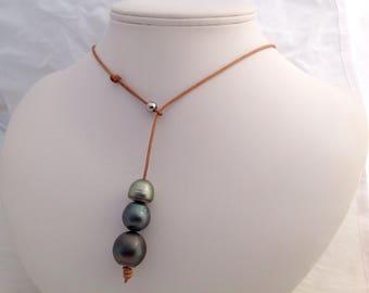 Free Shipping! XL Tahitian South Sea Pearls Baroque Trio on a Genuine Leather Lariat Necklace