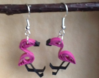 "Earrings ""Flamingo Pink"" in quilling"