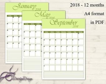 2018 Calendar, Printable Calendar, Green, Printable Monthly Calendar, Calendar Pages, Portrait Calendar, Calender 2018, Instant Download