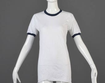 SALE Small Deadstock 1970s Ringer Tee 70s T-Shirt TShirt White Cotton Navy Blue Ribbed Knit Collar Cuffs Hippie Boho Woman Man Shirt Vintage