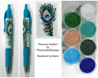 Peacock Feather by PhoenixWolfDesigns beaded pen kit (pattern sold separately)