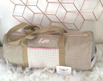 Travel duffel bag personalized graphic style in natural linen