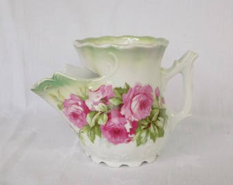 Antique Shaving Scuttle Mug, Roses, Three Crown China, Germany