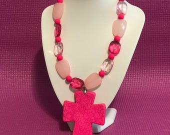 Think Pink Cross necklace