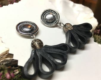 Black drop earrings made from polymer clay (leather look) with a black quartz bead