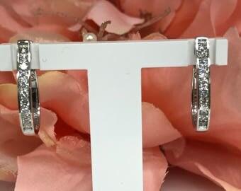 Diamond Hoop Earrings .50ctw. in 14K White Gold #3127