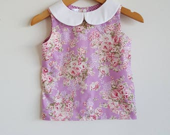 Girls blouse // peter pan collar // purple // pink // floral // spring // gift