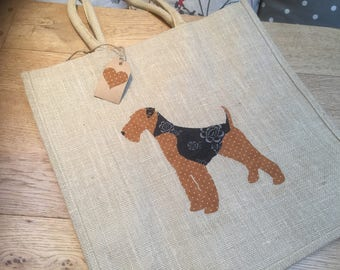 Luxury jute shopping bag featuring a Welsh Terrier dog design, the perfect gift for Welsh Terrier owners and dog lovers alike